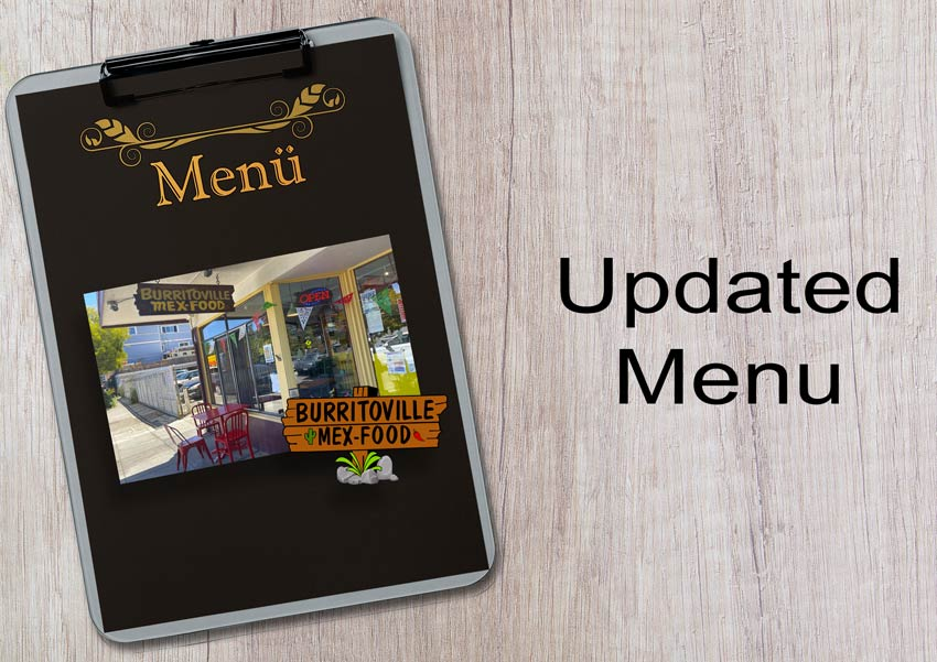 BurritoVille Mex Food - Updated Mexican Menu - Menu clipard with an image of the restaurant exterior, logo and text.